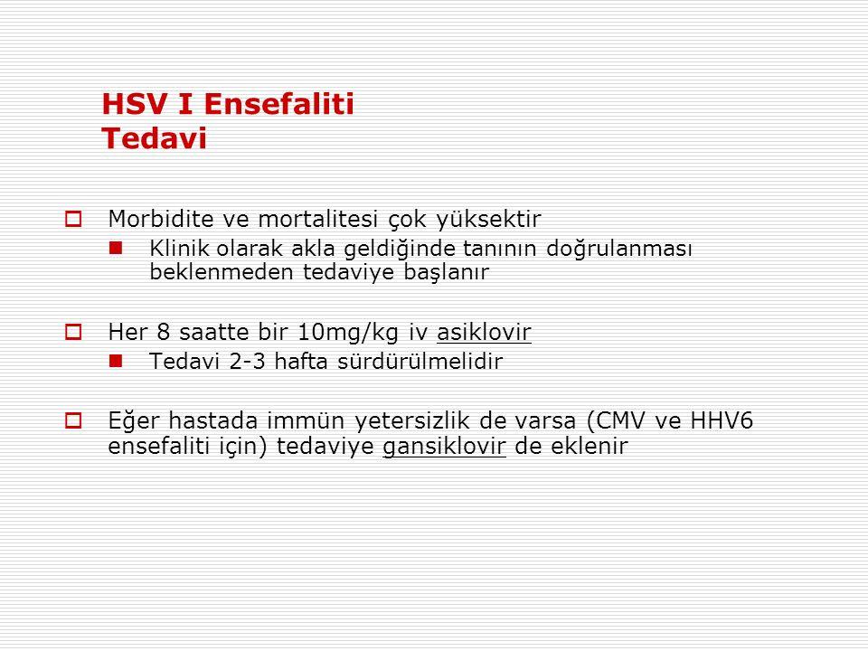 HSV I Ensefaliti Tedavi  Morbidite ve mortalitesi çok yüksektir Klinik olarak akla geldiğinde tanının doğrulanması beklenmeden tedaviye başlanır  Her 8 saatte bir 10mg/kg iv asiklovir Tedavi 2-3 hafta sürdürülmelidir  Eğer hastada immün yetersizlik de varsa (CMV ve HHV6 ensefaliti için) tedaviye gansiklovir de eklenir