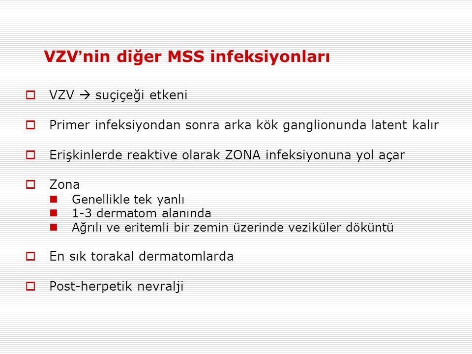 VZV ' nin diğer MSS infeksiyonları  VZV  suçiçeği etkeni  Primer infeksiyondan sonra arka kök ganglionunda latent kalır  Erişkinlerde reaktive olarak ZONA infeksiyonuna yol açar  Zona Genellikle tek yanlı 1-3 dermatom alanında Ağrılı ve eritemli bir zemin üzerinde veziküler döküntü  En sık torakal dermatomlarda  Post-herpetik nevralji