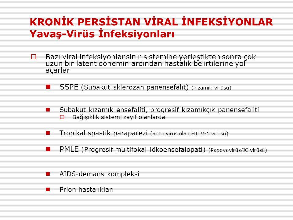 KRONİK PERSİSTAN VİRAL İNFEKSİYONLAR Yavaş-Virüs İnfeksiyonları  Bazı viral infeksiyonlar sinir sistemine yerleştikten sonra çok uzun bir latent dönemin ardından hastalık belirtilerine yol açarlar SSPE (Subakut sklerozan panensefalit) (kızamık virüsü) Subakut kızamık ensefaliti, progresif kızamıkçık panensefaliti  Bağışıklık sistemi zayıf olanlarda Tropikal spastik paraparezi (Retrovirüs olan HTLV-1 virüsü) PMLE (Progresif multifokal lökoensefalopati) (Papovavirüs/JC virüsü) AIDS-demans kompleksi Prion hastalıkları