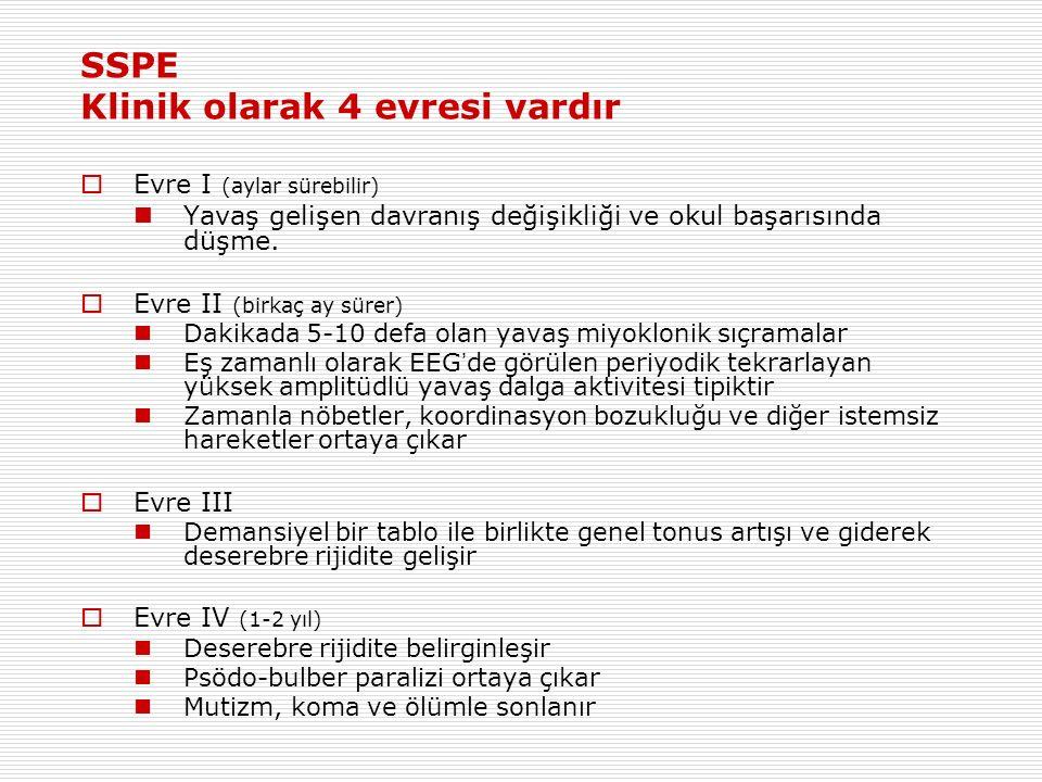 SSPE Klinik olarak 4 evresi vardır  Evre I (aylar sürebilir) Yavaş gelişen davranış değişikliği ve okul başarısında düşme.