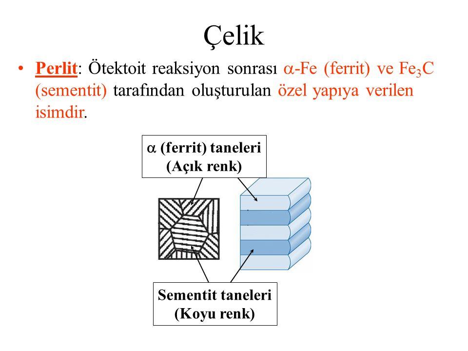 Çelik Perlit: Ötektoit reaksiyon sonrası  -Fe (ferrit) ve Fe 3 C (sementit) tarafından oluşturulan özel yapıya verilen isimdir.  (ferrit) taneleri (