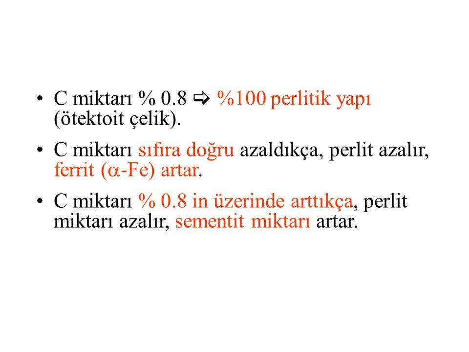C miktarı % 0.8  %100 perlitik yapı (ötektoit çelik).