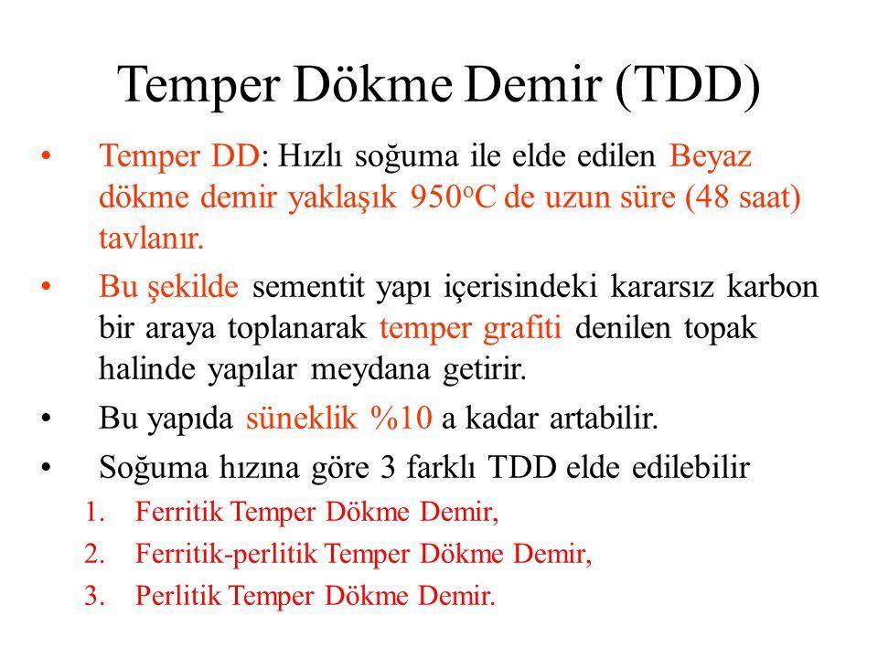 Temper DD: Hızlı soğuma ile elde edilen Beyaz dökme demir yaklaşık 950 o C de uzun süre (48 saat) tavlanır. Bu şekilde sementit yapı içerisindeki kara