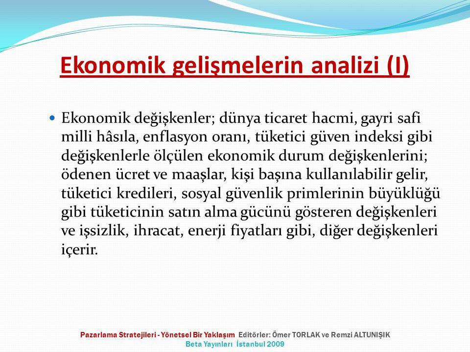 Ekonomik gelişmelerin analizi (I) Ekonomik değişkenler; dünya ticaret hacmi, gayri safi milli hâsıla, enflasyon oranı, tüketici güven indeksi gibi değ
