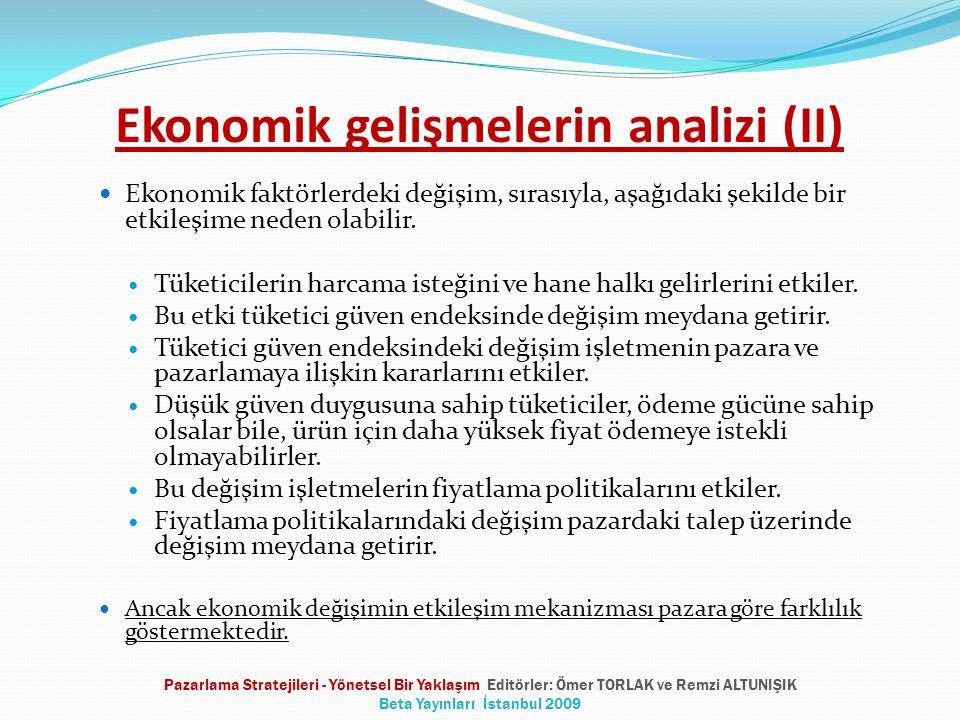Ekonomik gelişmelerin analizi (II) Ekonomik faktörlerdeki değişim, sırasıyla, aşağıdaki şekilde bir etkileşime neden olabilir. Tüketicilerin harcama i