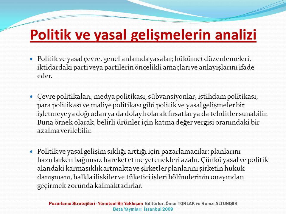Politik ve yasal gelişmelerin analizi Politik ve yasal çevre, genel anlamda yasalar; hükümet düzenlemeleri, iktidardaki parti veya partilerin öncelikl