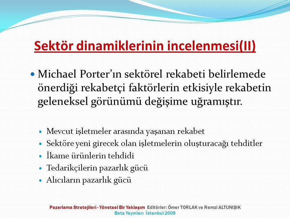 Sektör dinamiklerinin incelenmesi(II) Michael Porter'ın sektörel rekabeti belirlemede önerdiği rekabetçi faktörlerin etkisiyle rekabetin geleneksel gö