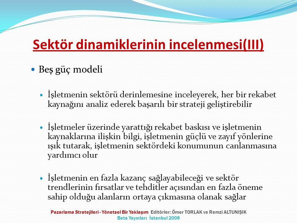 Sektör dinamiklerinin incelenmesi(III) Beş güç modeli İşletmenin sektörü derinlemesine inceleyerek, her bir rekabet kaynağını analiz ederek başarılı b