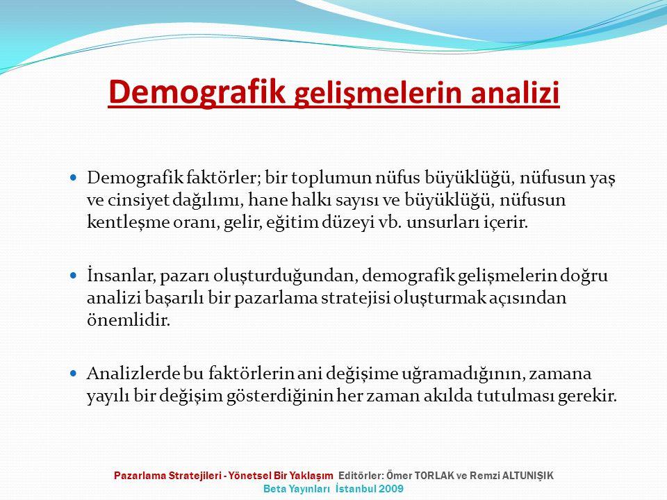 Demografik gelişmelerin analizi Demografik faktörler; bir toplumun nüfus büyüklüğü, nüfusun yaş ve cinsiyet dağılımı, hane halkı sayısı ve büyüklüğü,