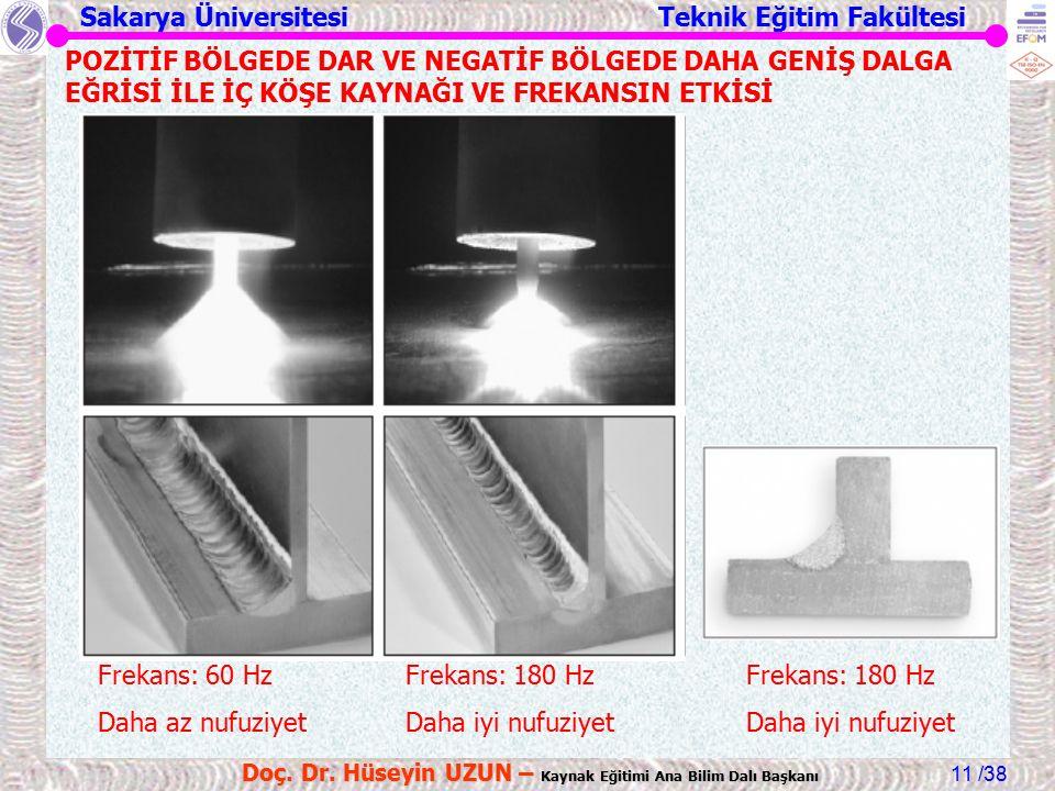 Sakarya Üniversitesi Teknik Eğitim Fakültesi /38 Doç. Dr. Hüseyin UZUN – Kaynak Eğitimi Ana Bilim Dalı Başkanı 11 Frekans: 60 Hz Daha az nufuziyet Fre