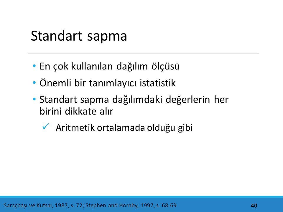 Standart sapma En çok kullanılan dağılım ölçüsü Önemli bir tanımlayıcı istatistik Standart sapma dağılımdaki değerlerin her birini dikkate alır Aritme