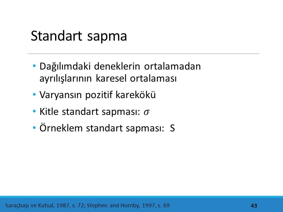 Standart sapma Dağılımdaki deneklerin ortalamadan ayrılışlarının karesel ortalaması Varyansın pozitif karekökü Kitle standart sapması: Örneklem standa