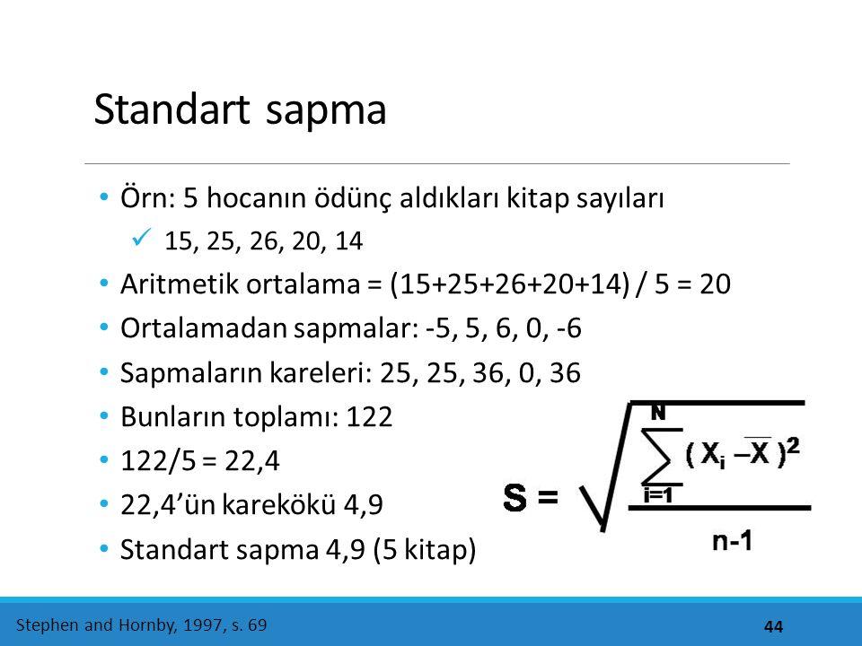 Standart sapma Örn: 5 hocanın ödünç aldıkları kitap sayıları 15, 25, 26, 20, 14 Aritmetik ortalama = (15+25+26+20+14) / 5 = 20 Ortalamadan sapmalar: -