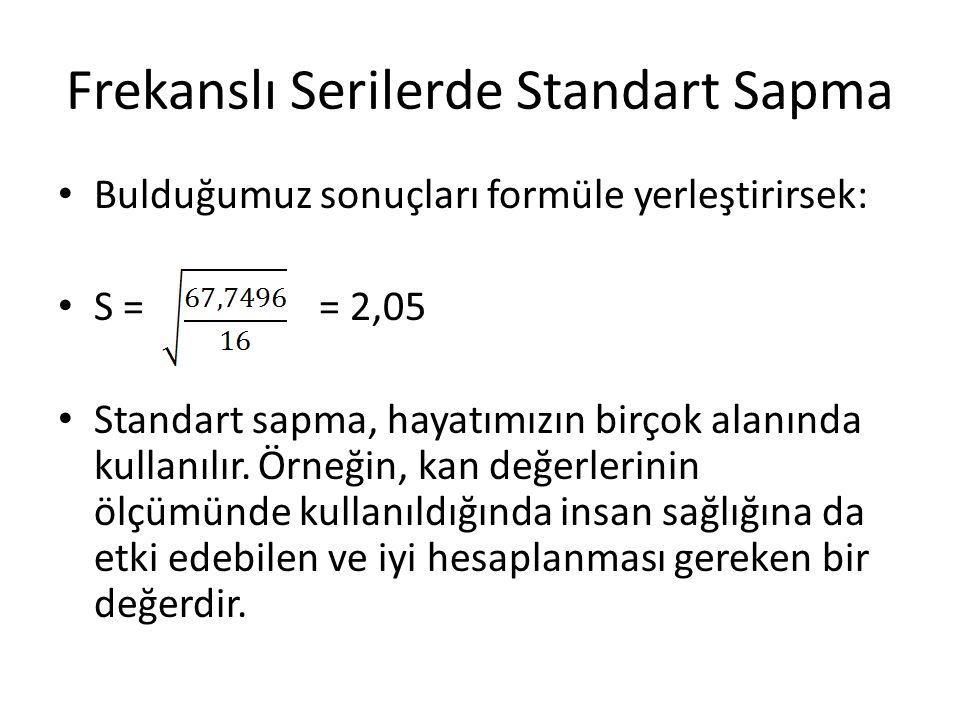 Frekanslı Serilerde Standart Sapma Bulduğumuz sonuçları formüle yerleştirirsek: S = = 2,05 Standart sapma, hayatımızın birçok alanında kullanılır. Örn