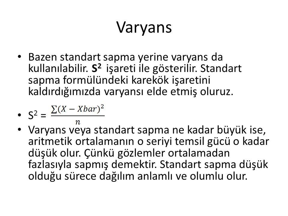 Varyans Bazen standart sapma yerine varyans da kullanılabilir. S 2 işareti ile gösterilir. Standart sapma formülündeki karekök işaretini kaldırdığımız