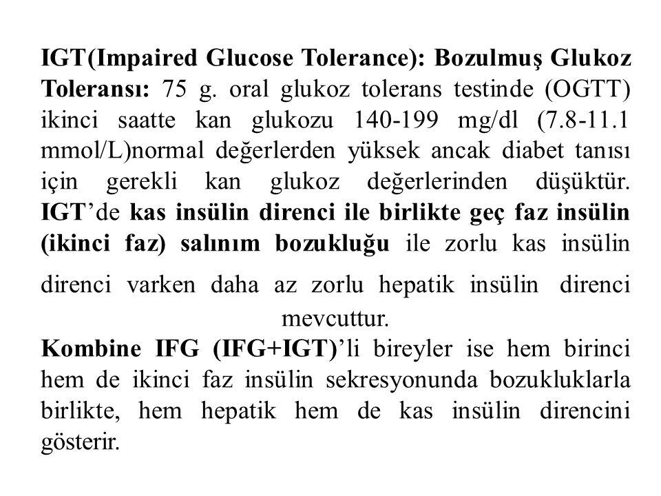IGT(Impaired Glucose Tolerance): Bozulmuş Glukoz Toleransı: 75 g.