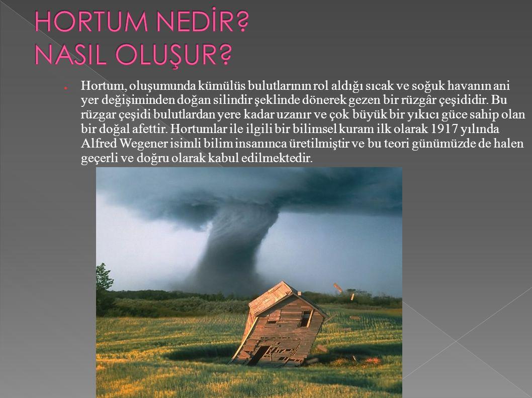 ● Hortum, oluşumunda kümülüs bulutlarının rol aldığı sıcak ve soğuk havanın ani yer değişiminden doğan silindir şeklinde dönerek gezen bir rüzgâr çeşididir.