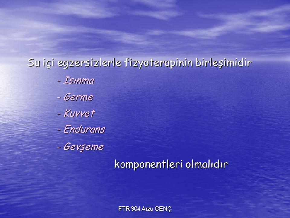 Su içi egzersizlerle fizyoterapinin birleşimidir - Isınma - Germe - Kuvvet - Endurans - Gevşeme komponentleri olmalıdır