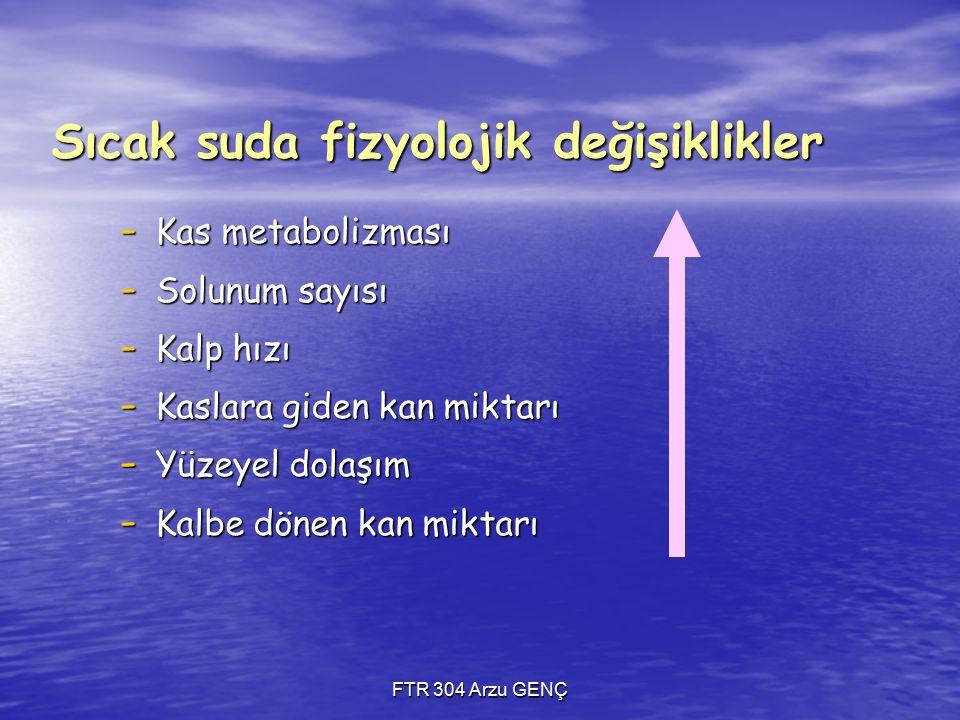 FTR 304 Arzu GENÇ Sıcak suda fizyolojik değişiklikler - Kas metabolizması - Solunum sayısı - Kalp hızı - Kaslara giden kan miktarı - Yüzeyel dolaşım - Kalbe dönen kan miktarı