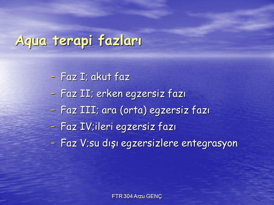 Aqua terapi fazları - Faz I; akut faz - Faz II; erken egzersiz fazı - Faz III; ara (orta) egzersiz fazı - Faz IV;ileri egzersiz fazı - Faz V;su dışı egzersizlere entegrasyon