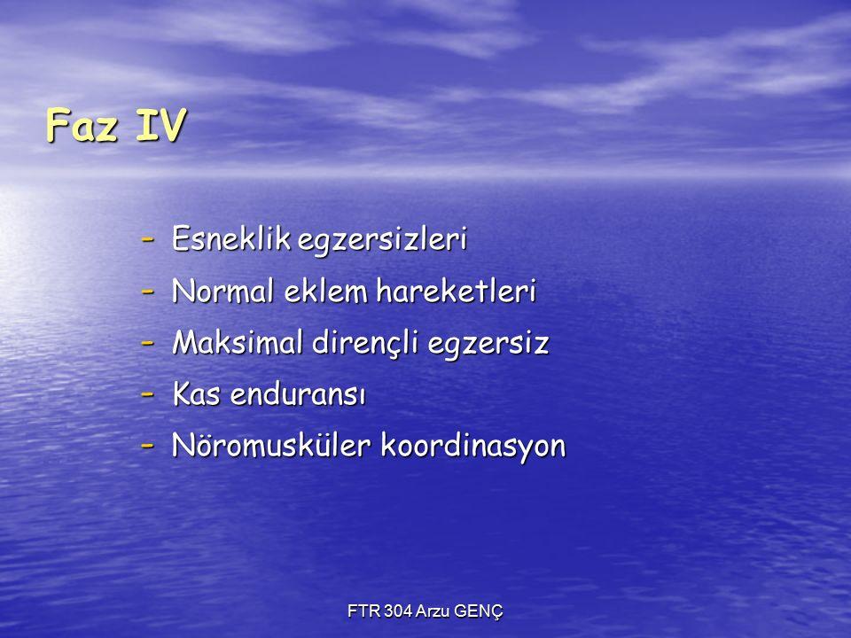 FTR 304 Arzu GENÇ Faz IV - Esneklik egzersizleri - Normal eklem hareketleri - Maksimal dirençli egzersiz - Kas enduransı - Nöromusküler koordinasyon