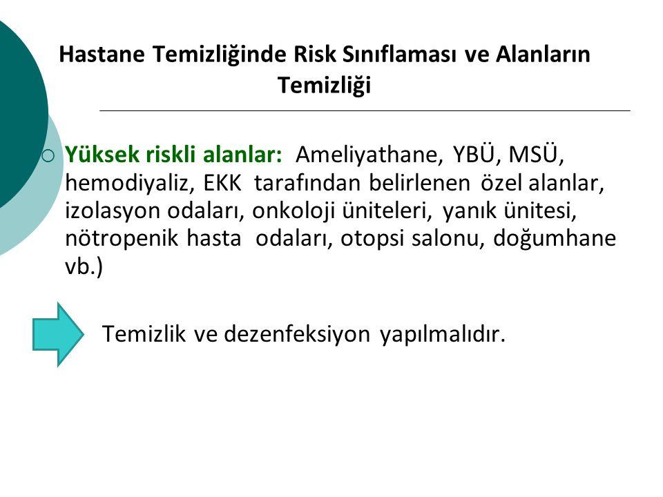 Hastane Temizliğinde Risk Sınıflaması ve Alanların Temizliği  Yüksek riskli alanlar: Ameliyathane, YBÜ, MSÜ, hemodiyaliz, EKK tarafından belirlenen ö