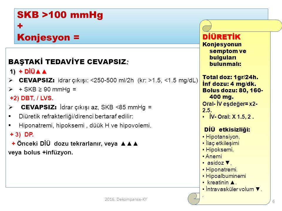 SKB >100 mmHg + Konjesyon = : BAŞTAKİ TEDAVİYE CEVAPSIZ : 1) + DİÜ▲▲ 1) + DİÜ▲▲  CEVAPSIZ: idrar çıkışı: 1.5, <1.5 mg/dL)  + SKB ≥ 90 mmHg = +2) DBT, / LVS.