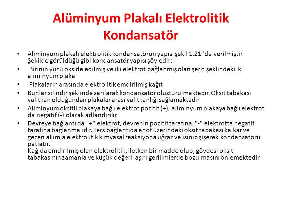 Alüminyum Plakalı Elektrolitik Kondansatör Aliminyum plakalı elektrolitik kondansatörün yapısı şekil 1.21 de verilmiştir.