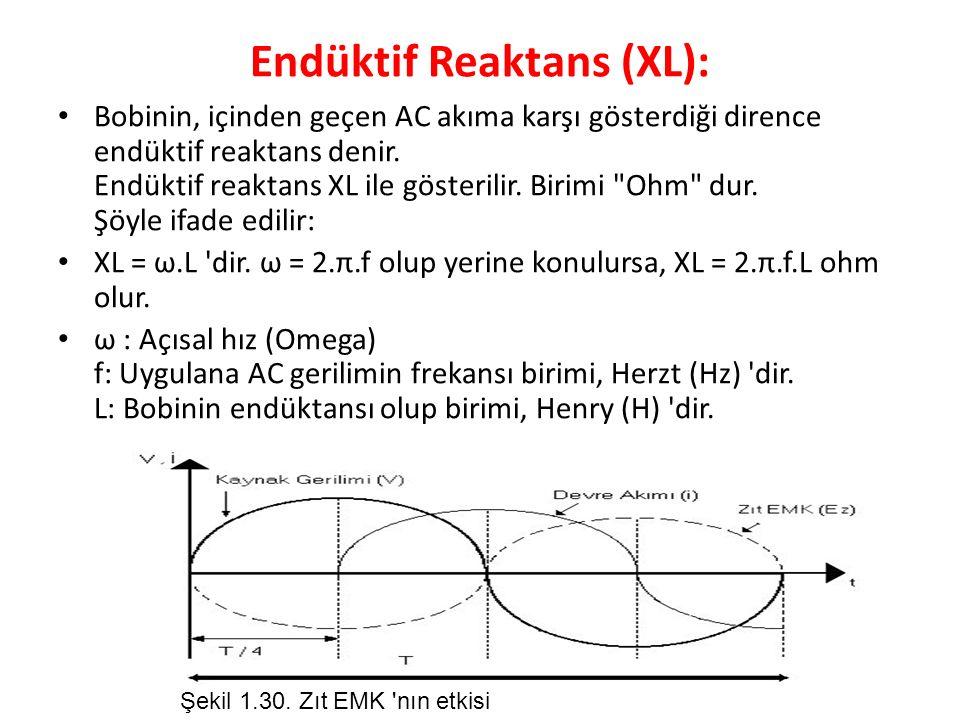 Endüktif Reaktans (XL): Bobinin, içinden geçen AC akıma karşı gösterdiği dirence endüktif reaktans denir.