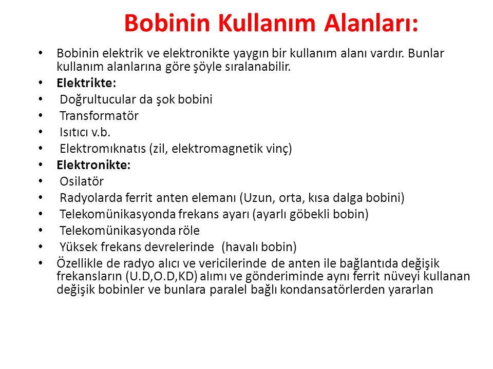 Bobinin Kullanım Alanları: Bobinin elektrik ve elektronikte yaygın bir kullanım alanı vardır.
