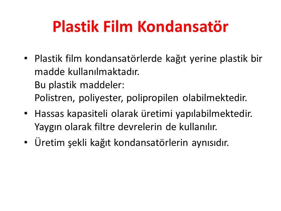 Plastik Film Kondansatör Plastik film kondansatörlerde kağıt yerine plastik bir madde kullanılmaktadır.