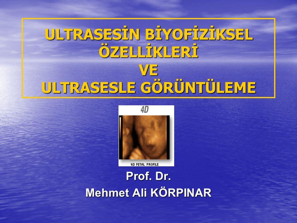 ULTRASESİN BİYOFİZİKSEL ÖZELLİKLERİ VE ULTRASESLE GÖRÜNTÜLEME Prof. Dr. Mehmet Ali KÖRPINAR