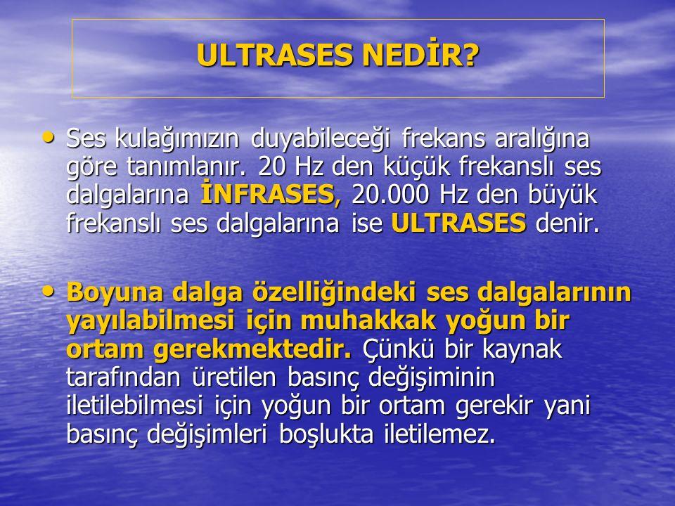 ULTRASES NEDİR? Ses kulağımızın duyabileceği frekans aralığına göre tanımlanır. 20 Hz den küçük frekanslı ses dalgalarına İNFRASES, 20.000 Hz den büyü