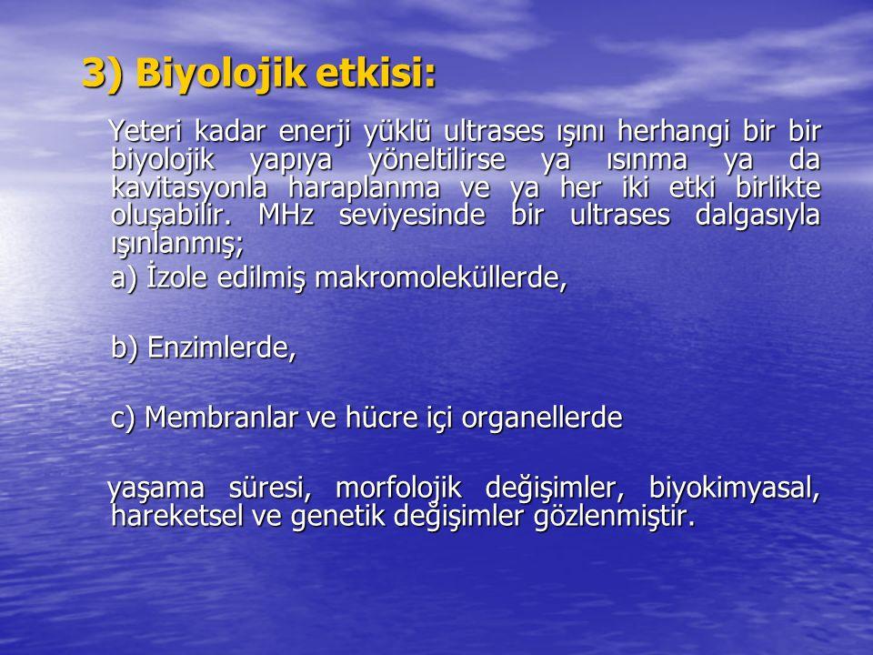 3) Biyolojik etkisi: Yeteri kadar enerji yüklü ultrases ışını herhangi bir bir biyolojik yapıya yöneltilirse ya ısınma ya da kavitasyonla haraplanma v