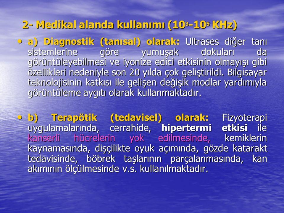 2- Medikal alanda kullanımı (10 3 -10 5 KHz) a) Diagnostik (tanısal) olarak: Ultrases diğer tanı sistemlerine göre yumuşak dokuları da görüntüleyebilmesi ve iyonize edici etkisinin olmayışı gibi özellikleri nedeniyle son 20 yılda çok geliştirildi.