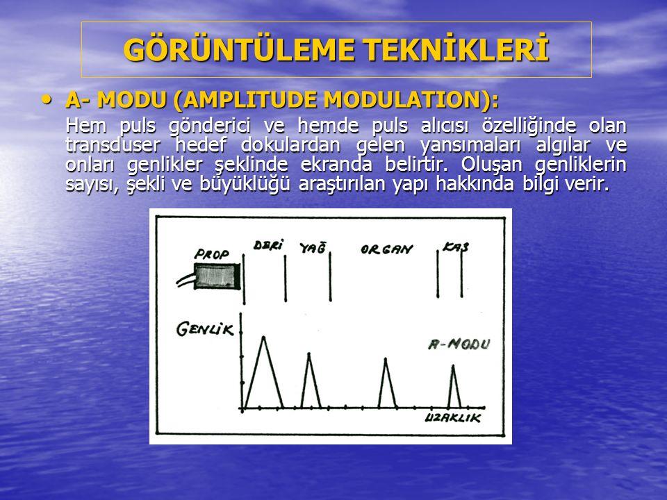 B- MODU (BRIGHTNESS MODULATION): B- MODU (BRIGHTNESS MODULATION): Hedef dokulardan alınan yansımalar, parlak noktaların lineer bir serisi olarak ekranda ifade edilir.