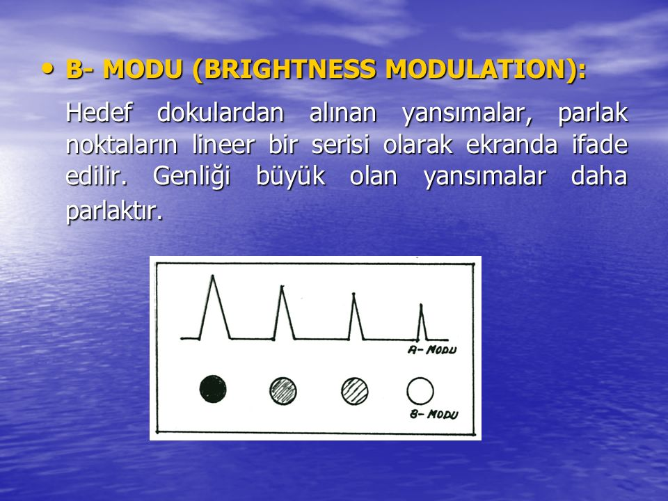 B- MODU (BRIGHTNESS MODULATION): B- MODU (BRIGHTNESS MODULATION): Hedef dokulardan alınan yansımalar, parlak noktaların lineer bir serisi olarak ekran