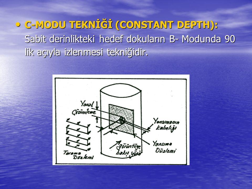GRİ-SKALA GÖRÜNTÜLEMESİ: GRİ-SKALA GÖRÜNTÜLEMESİ: B-Modunda yapılan taramaları fosfor yüzeyli osiloskop ekranına kaydetmek için EŞİK DEĞER deteksiyonu kullanılır.