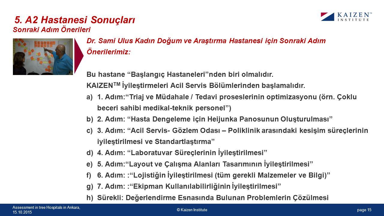 © Kaizen Institute Sonraki Adım Önerileri page 15 Assessment in tree Hospitals in Ankara, 15.10.2015 Dr.