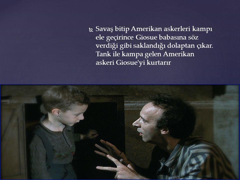   Savaş bitip Amerikan askerleri kampı ele geçirince Giosue babasına söz verdiği gibi saklandığı dolaptan çıkar.