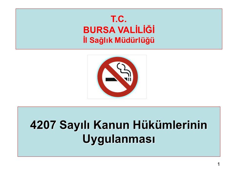 111 4207 Sayılı Kanun Hükümlerinin Uygulanması T.C. BURSA VALİLİĞİ İl Sağlık Müdürlüğü
