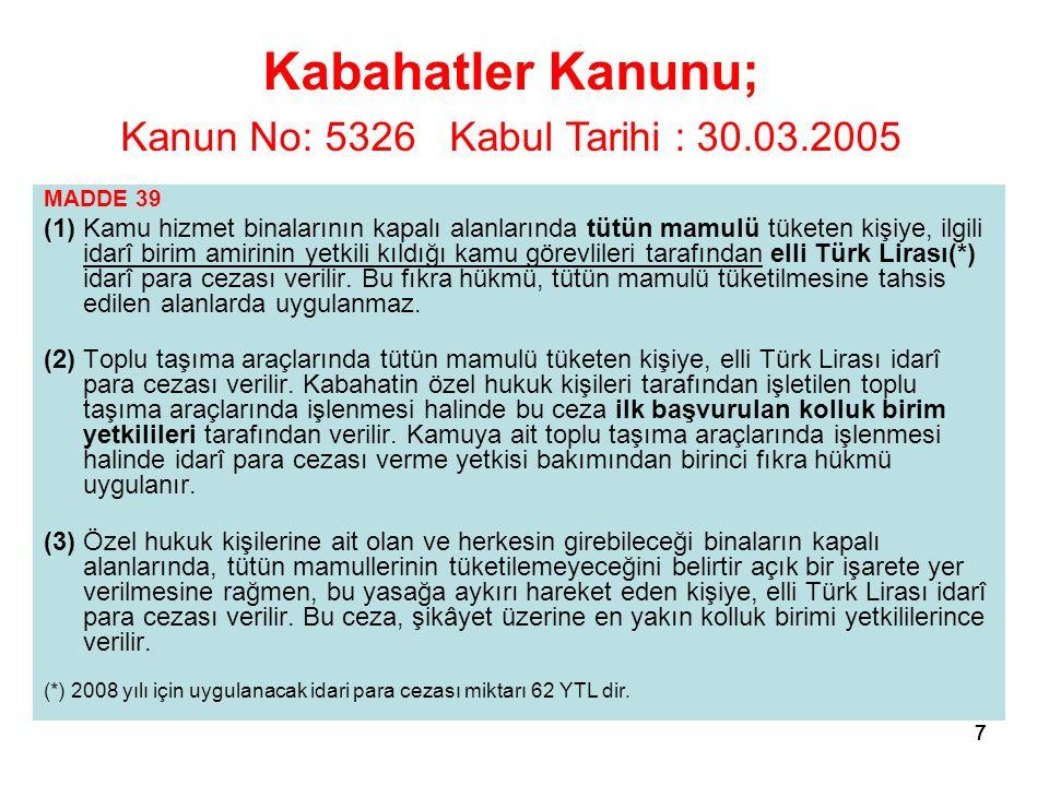 7777 MADDE 39 (1) Kamu hizmet binalarının kapalı alanlarında tütün mamulü tüketen kişiye, ilgili idarî birim amirinin yetkili kıldığı kamu görevlileri tarafından elli Türk Lirası(*) idarî para cezası verilir.