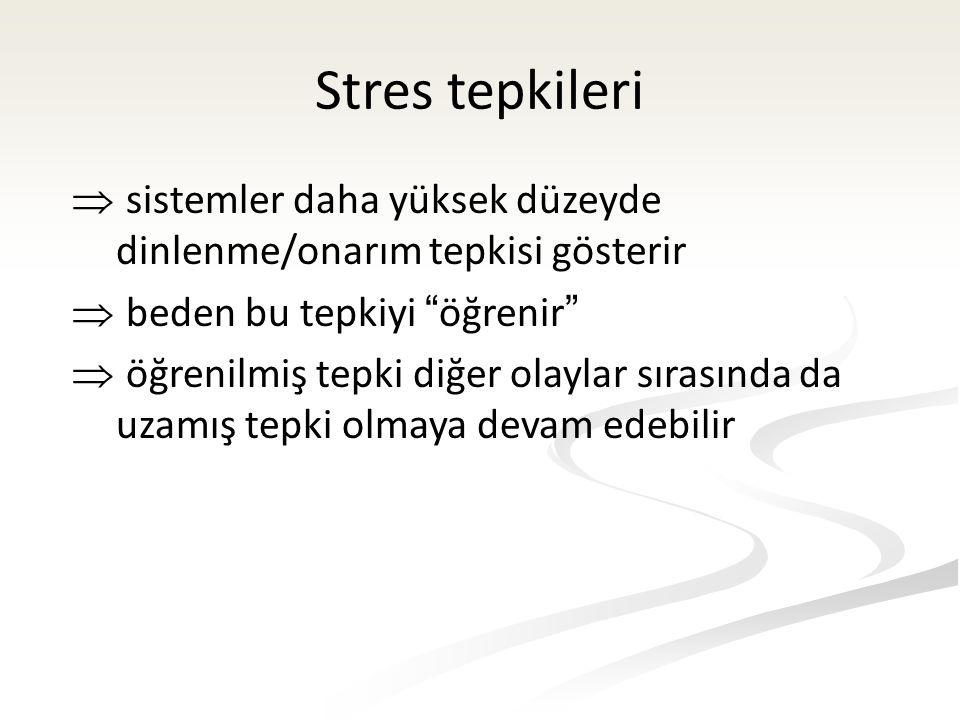 Stres tepkileri  sistemler daha yüksek düzeyde dinlenme/onarım tepkisi gösterir  beden bu tepkiyi öğrenir  öğrenilmiş tepki diğer olaylar sırasında da uzamış tepki olmaya devam edebilir