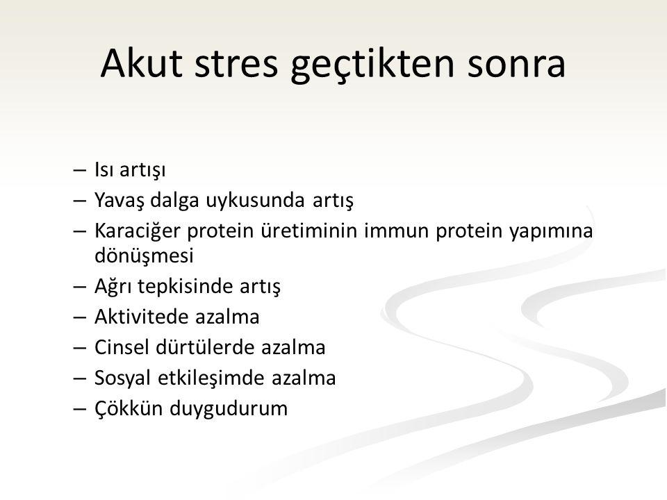 Akut stres geçtikten sonra – Isı artışı – Yavaş dalga uykusunda artış – Karaciğer protein üretiminin immun protein yapımına dönüşmesi – Ağrı tepkisinde artış – Aktivitede azalma – Cinsel dürtülerde azalma – Sosyal etkileşimde azalma – Çökkün duygudurum