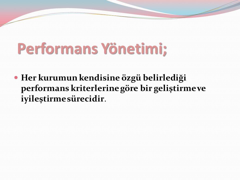 Performans yönetim sisteminin temel unsurları: Bireysel performansın planlanması Performansın değerlendirileceği kriterlerin ve değerlendirme yöntemlerinin belirlenmesi Seçilen yöntemler doğrultusunda performansın gözden geçirilmesi Bireye geri bildirim verilmesi Performansın geliştirilmesi için yönlendirilmesi ve performans değerlendirme sonuçlarına göre birey hakkında kararlar alınması