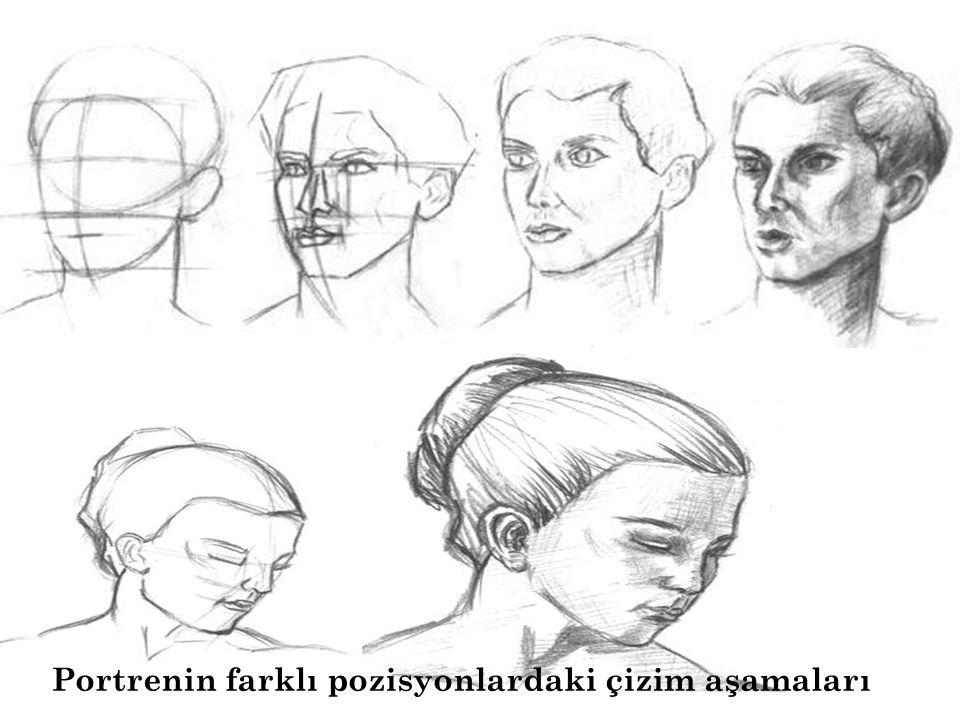 Portrenin farklı pozisyonlardaki çizim aşamaları