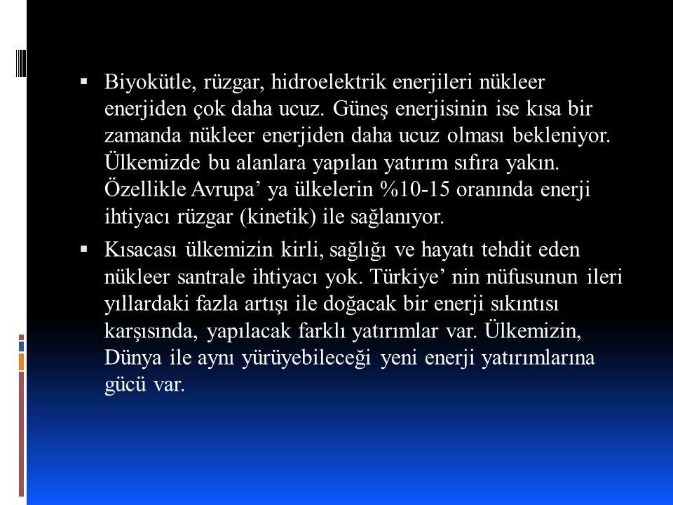 KAYNAKLAR  http://www.greenpeace.org/turkey/tr/campaigns/nukleersiz- gelecek/ http://www.greenpeace.org/turkey/tr/campaigns/nukleersiz- gelecek/  http://yesilgazete.org/blog/2014/04/25/cernobilin-28-yilinda- nukleere-hayir-demek-icin-28-neden/ http://yesilgazete.org/blog/2014/04/25/cernobilin-28-yilinda- nukleere-hayir-demek-icin-28-neden/  http://www.obi.bilkent.edu.tr/ekookul/pdf/nukleerenerji.pdf http://www.obi.bilkent.edu.tr/ekookul/pdf/nukleerenerji.pdf  http://www.guvencetin.com/Enerji/NukleerEnerji/NukleerEnerji1.ht m http://www.guvencetin.com/Enerji/NukleerEnerji/NukleerEnerji1.ht m  http://bilmiyorsan.com/nukleer-enerji-santraline-neden-hayir- diyoruz/
