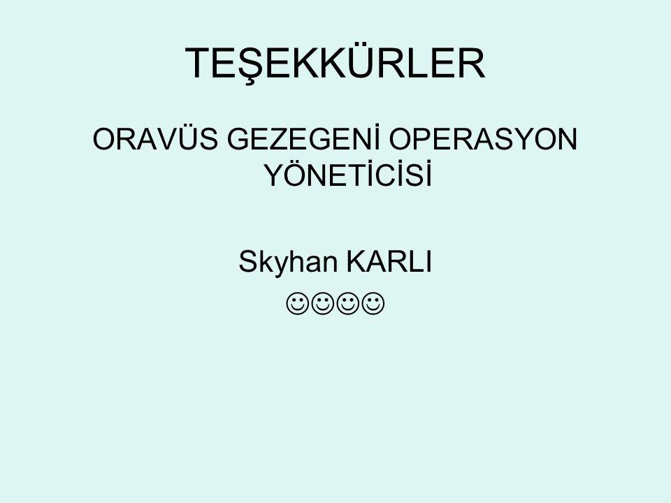 TEŞEKKÜRLER ORAVÜS GEZEGENİ OPERASYON YÖNETİCİSİ Skyhan KARLI
