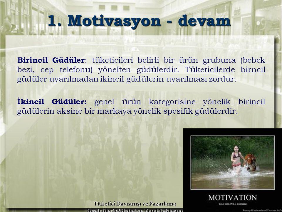 A.H. İslamoğlu R. Altunışık Tüketici Davranışı ve Pazarlama Stratejileri / Global ve Yerel Yaklaşım Erdoğan Koç 1. Motivasyon - devam Birincil Güdüler