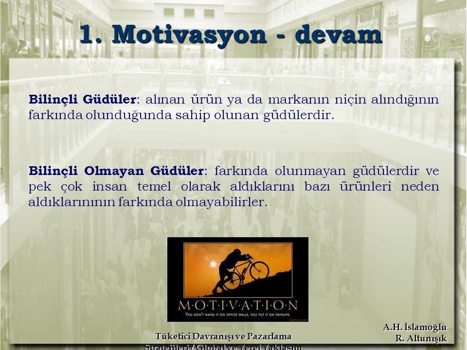 A.H. İslamoğlu R. Altunışık Tüketici Davranışı ve Pazarlama Stratejileri / Global ve Yerel Yaklaşım Erdoğan Koç 1. Motivasyon - devam Bilinçli Güdüler